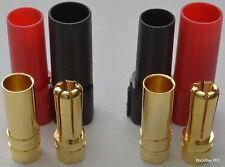 XT150 6MM Bullet Connector Plug Set (Red / Black, Male / Female) - 150+ Amps