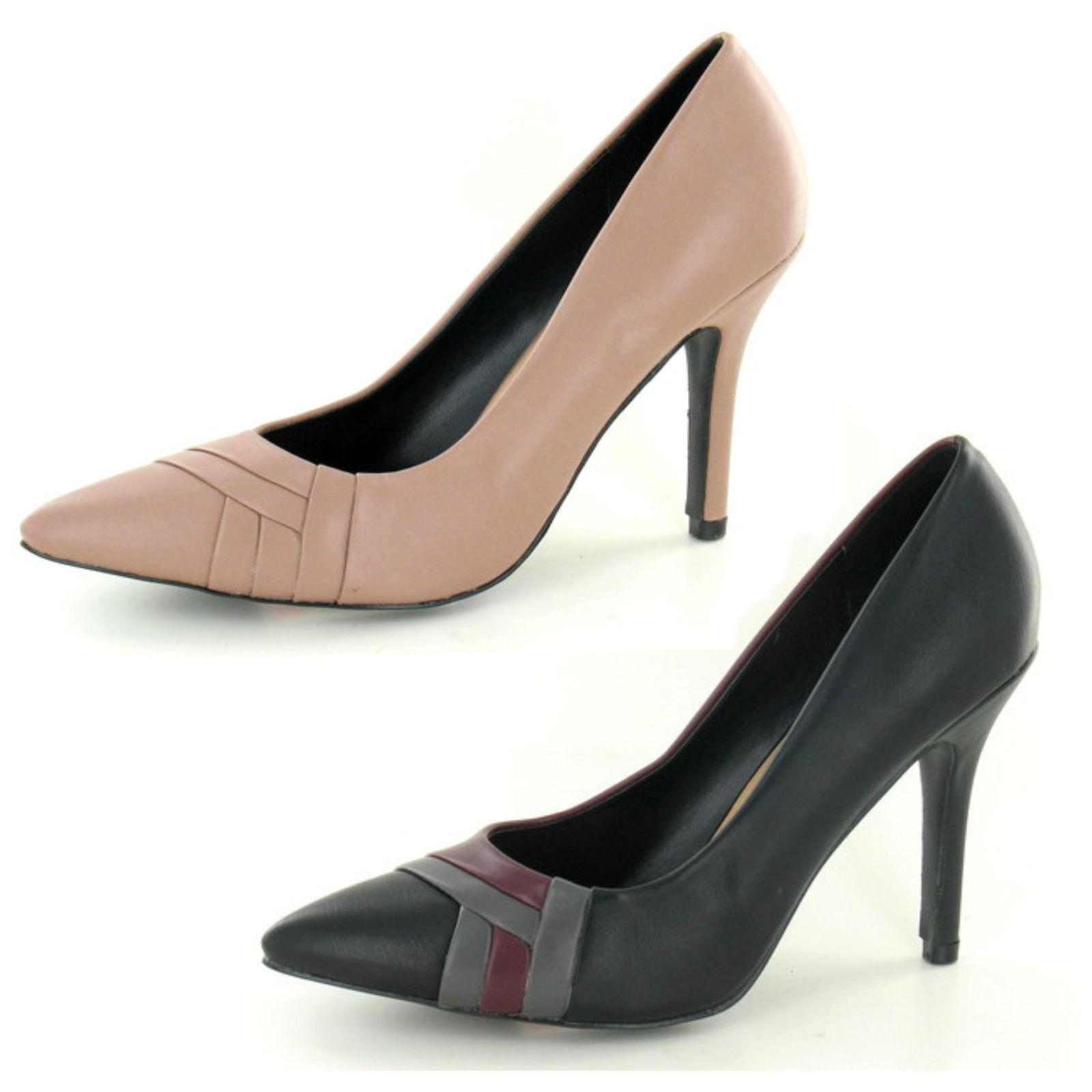 Spot On F9673 Ladies PU  Heeled Court shoe (Nude-R36B) (Black-R34B)