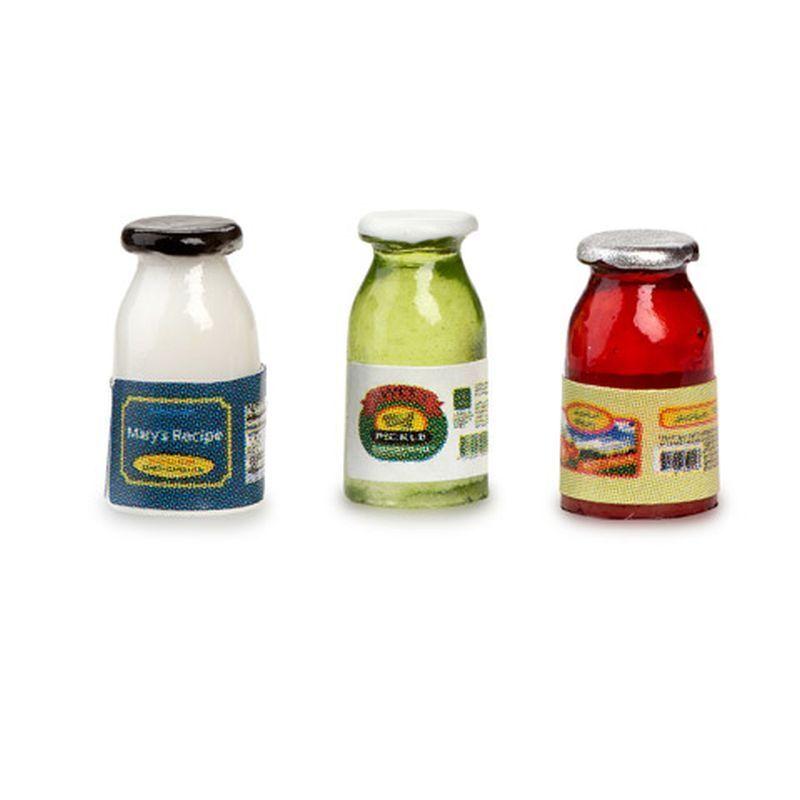 DOLLHOUSE 1:12 Relish Jar Miniature Picnic-Style Ketchup//Mustard Dispensers