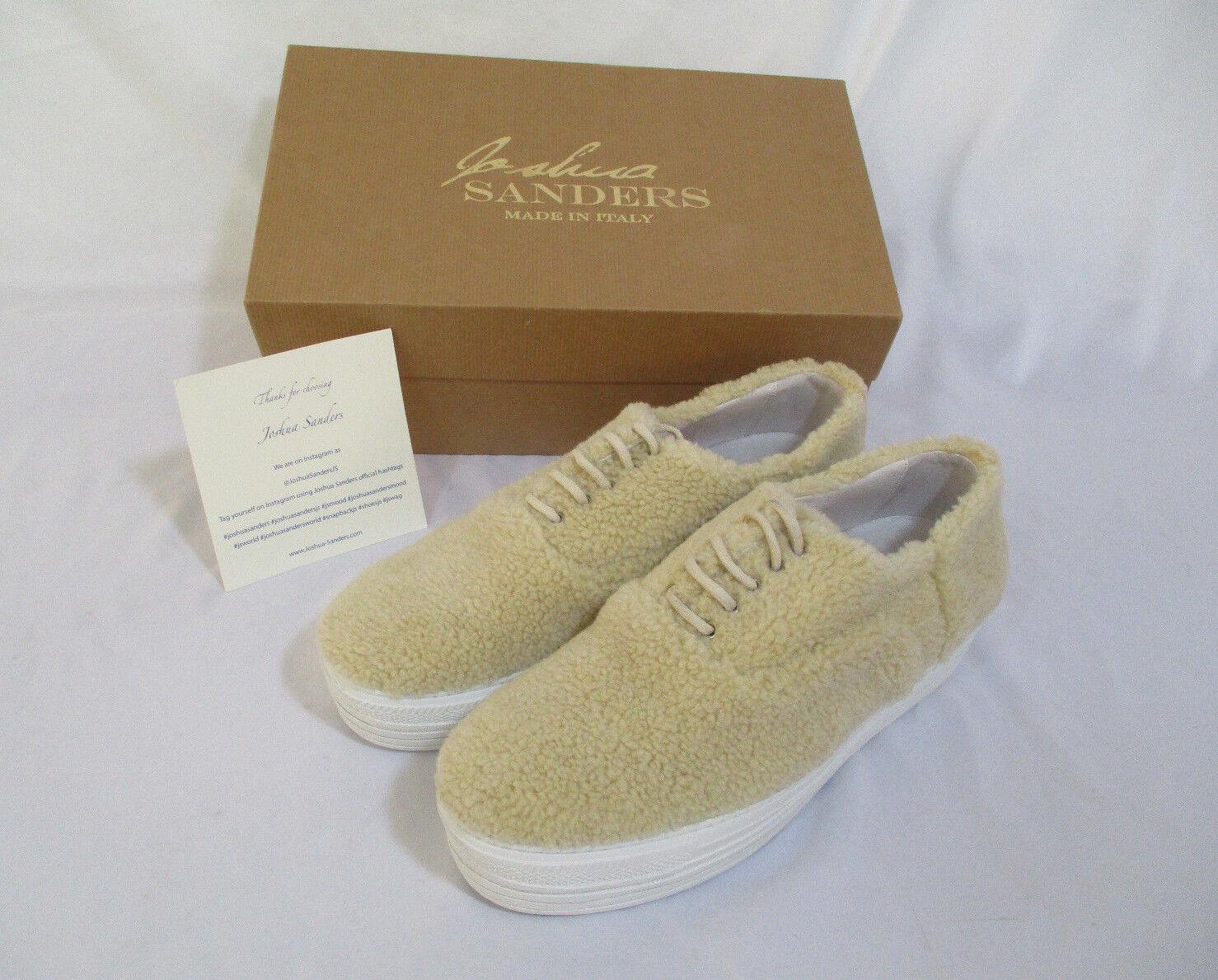 NIB Joshua Sanders Rare Celebrity Cream Shea Double Sole Shearling shoes Sz 41