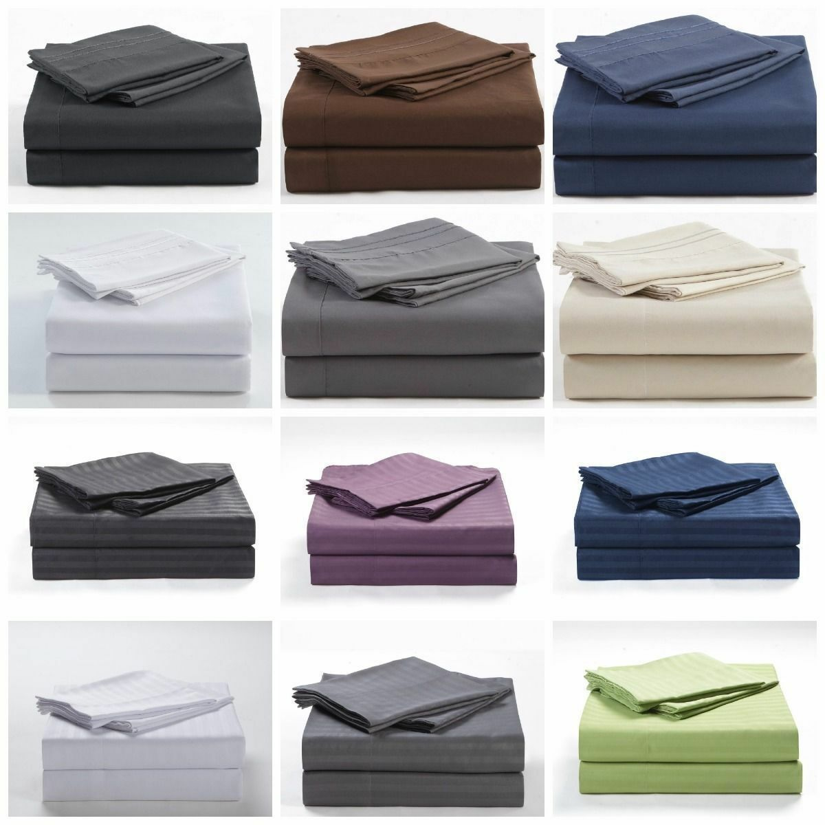 Egyptian Cotton Bed Sheet Set All USA Size Multi color 400-TC 15 Inch Drop