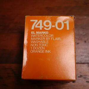 Box of 12 NEW Vtg EL MARKO Flair 749-01 ORANGE Ink Watercolor Washable MARKERS