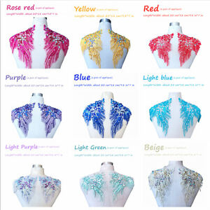 A2AB Lace Sequin Beaded Embroidered Rhinestone Trim Dressmaking Applique AMZ A