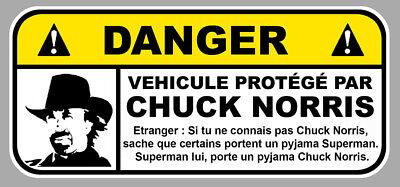 Automobilia Badges, Insignes, Mascottes Danger Vehicule Protege Par Chuck Norris Fun Drift Jdm 12cm Sticker Da206