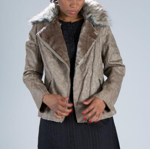 Donna Girovita Lunghezza zip EFFETTO INVECCHIATO Faux Leather FUR COLLETTO CAPPOTTO GIACCA