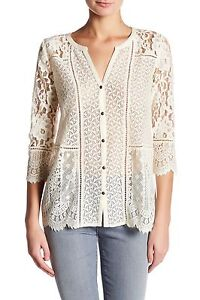 Lucky-Brand-Women-039-s-M-NWT-59-Birch-Ivory-Lace-Mixed-Media-Knit-Top-Blouse