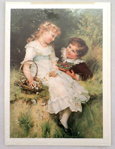 Victorian-Lithograph-Print-Picture-034-Sweethearts-034-Children-Kids-In-Love-5-034-X-7-034