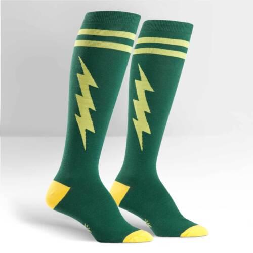 Sock It To Me Women/'s Funky Knee High Socks Green /& Gold Super Hero