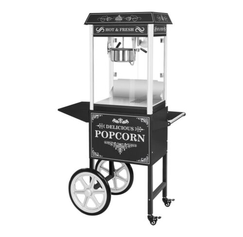 Royal Catering Popcorn Machine With Trolley - Retro Style - Multi Colour Light