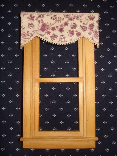 "Wine and Cream Valance Dollhouse Curtains 3 /"" W x 1 1//4 /"" L"