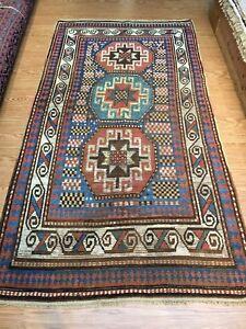 Antique-Caucasian-Moghan-Kazak-circa-1850-039-s-authentic-vintage-4-039-x8-039-ft-19th-c