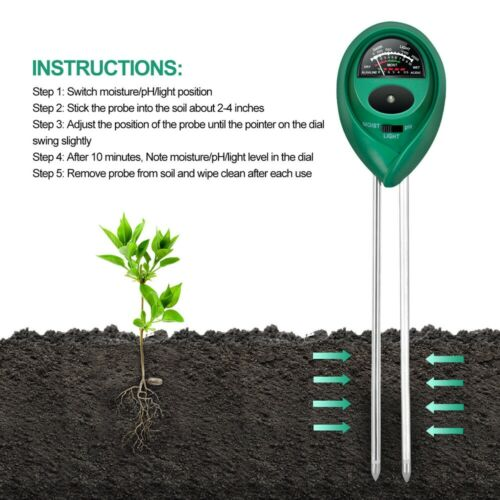 3 in 1 Digital PH Tester Sunlight Soil Moisture Meter Detector Plant Garden US
