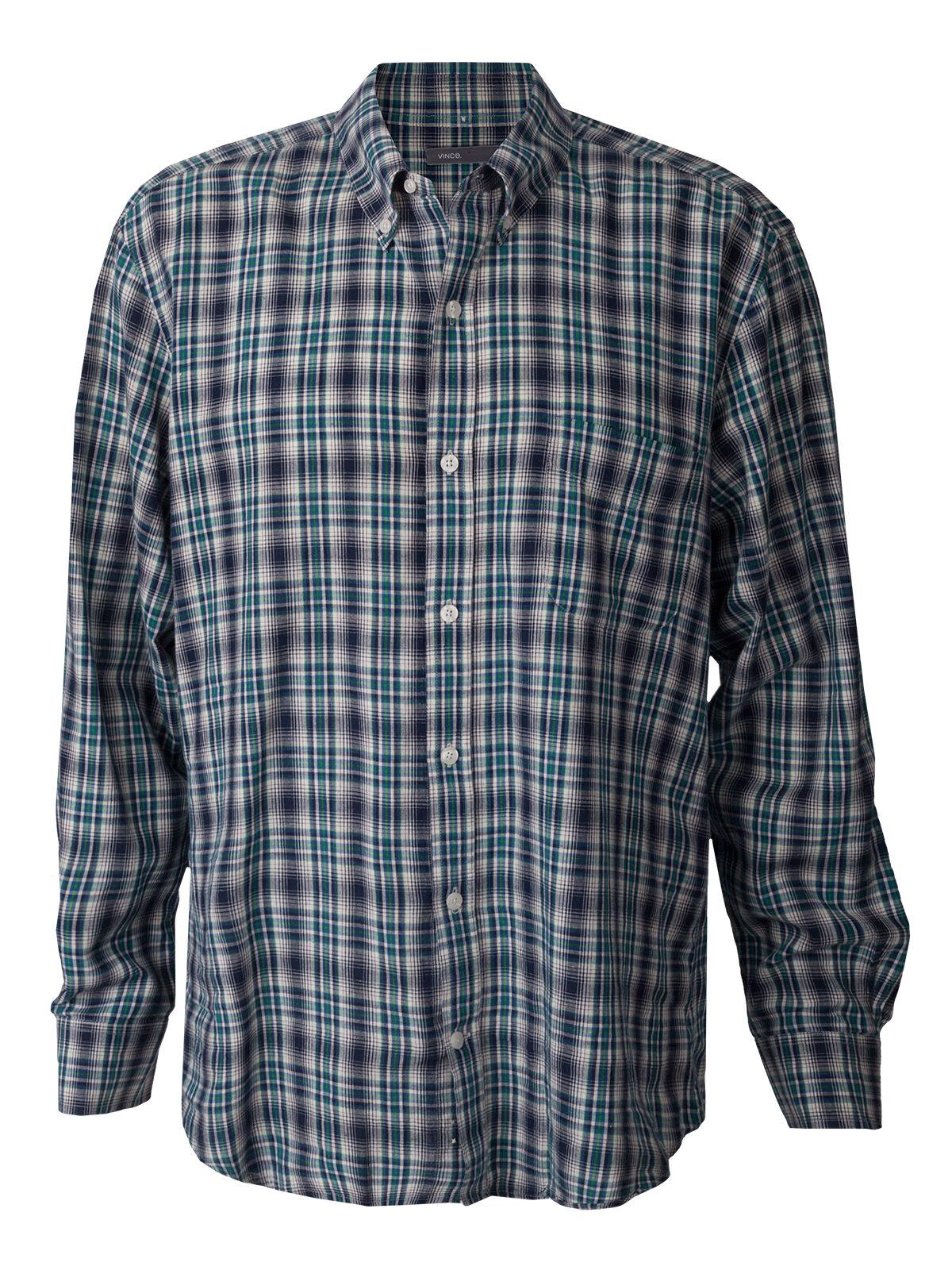 Men's Vince Plaid Button Shirt Multicolor Green bluee Nordstrom Designer Vtg XL