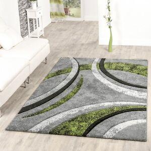 GroBartig Das Bild Wird Geladen Teppich Wohnzimmer  Gestreift Modern Mit Konturenschnitt In Gruen