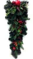 Delarobia Pinemix Greenery Teardrop. Pomegranate, Red Berries.32(hang As Tree)
