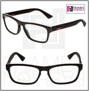 03e13be2074 Image is loading GUCCI-0174-Black-Square-STRIPE-RX-Eyeglasses-Optical-