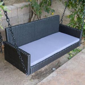 53 Black Wicker Porch Swing Chair Outdoor Furniture Patio Hang