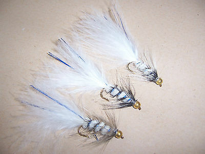 3 Goldhead Panachora Woollybugger blue flash size 10 Salmoflies Fishing Flies