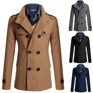 Men S Slim Fit Double Breasted Peacoat Jacket Winter Warm Trench