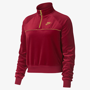 Details about Nike Women's Sportswear 14 Zip Velour Pullover Jacket Red Gold 939491 618 NEW