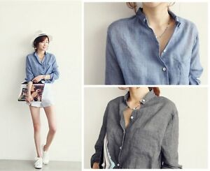 Summer-Women-vintage-Long-Sleeve-Blue-Cotton-Linen-Denim-Loose-Shirt-Top-Blouse