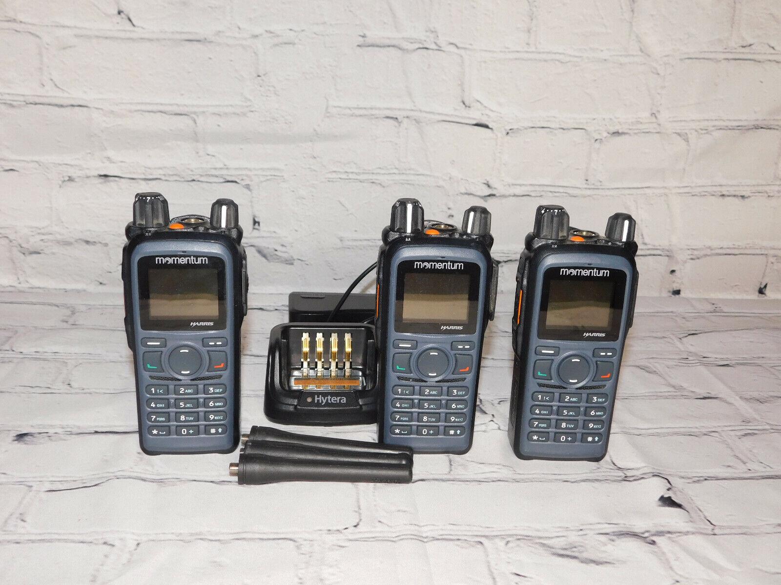 3 Harris / Hytera Momentum 403-470mhz UHF Portable Digital/analog Radios encrypt. Buy it now for 375.00