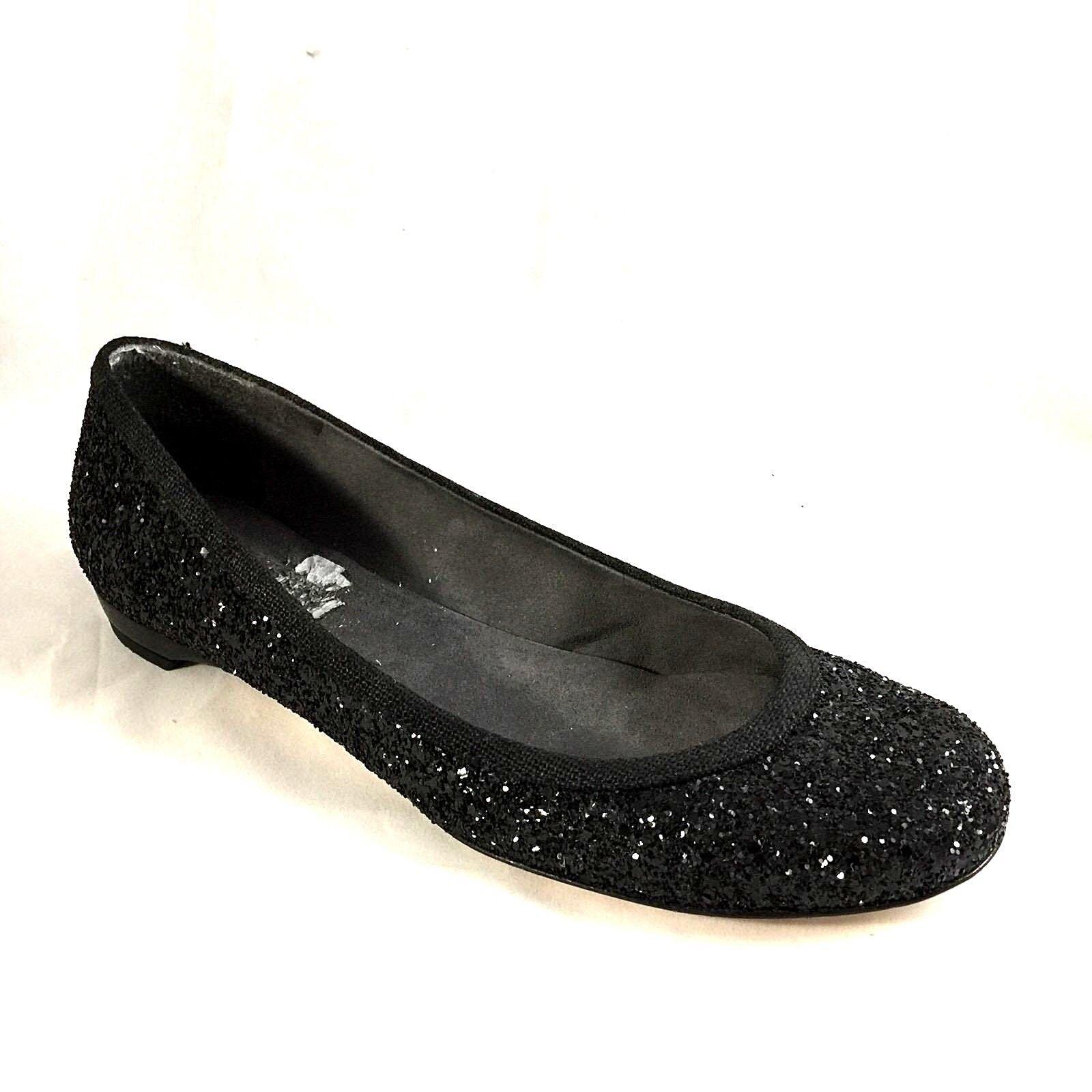 Stuart Weitzman Flora Ballet Zapatos sin Taco Sin Negro Brillante Brillante Brillante Metálica antideslizante en Punta rojoonda 8 M  tienda de pescado para la venta