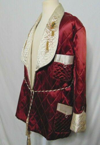 Smoking Jacket Mens Vintage Silk Half Robe Orienta