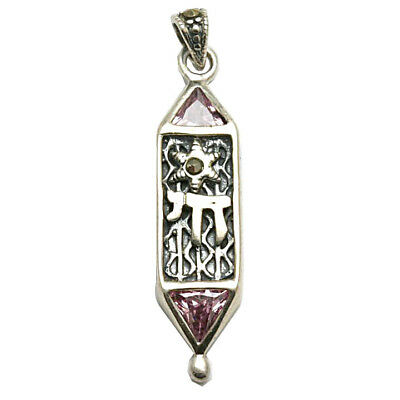 Sterling Silver Mezuzah with Star /& Chai Pendant