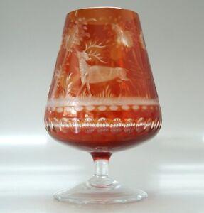Cognac-Schwenker-Bleikristall-Tiermotive-Glas-Rot-handgeschliffen