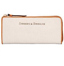 DOONEY & BOURKE Claremont LARGE Zip Clutch Wallet BONE TEXTURED LEATHER NEW $158