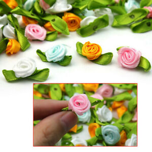 100pcs-Small-Mini-Satin-Ribbon-Flowers-Rose-Wedding-Decor-Sewing-Appliques-PDK