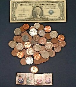 Starter-Collection-Silver-Certificate-with-Mix-Lot-100-Old-U-S-Coins-Bonus
