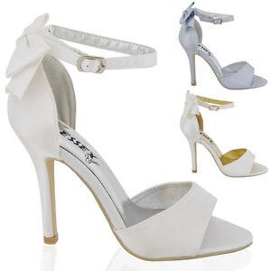 Frugal Chaussures Femme Talon Aiguille Bride Cheville Femmes Blanc Ivoire Mariage Bout Ouvert Sandales Chaussures-afficher Le Titre D'origine