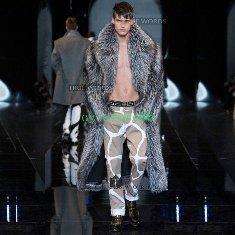 Hot Para Hombre de invierno cálido abrigo trench de  longitud completa con solapa Cuello De Piel Sintética Prendas de abrigo Parka  salida