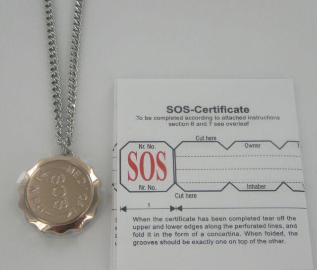 """SOS NECKLACE 30"""" MEDICAL ALERT/EMERGENCY/STAINLESS STEEL LADIES/MENS/TALISMAN"""
