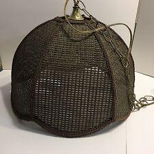 "Vintage Mid Century Rattan Wicker Swag Hanging Light Lamp Dark Brown ""B"""