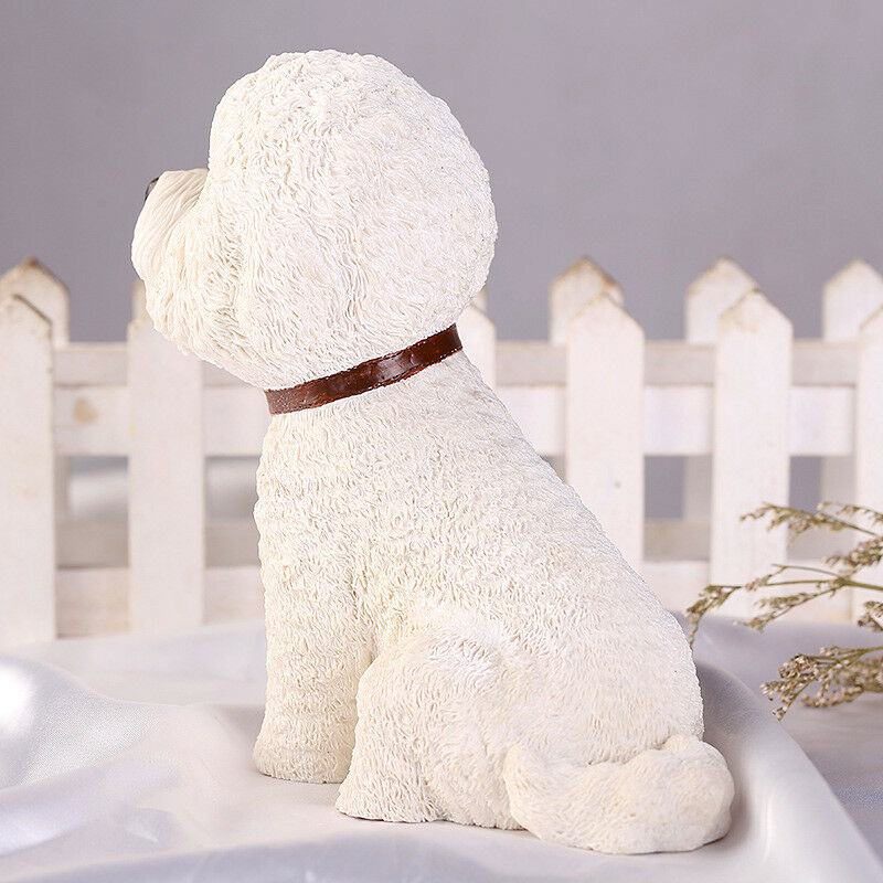 Cute Bichon Frise Dog Pet Animal Figure Model Toy Toy Toy Collector Decor Kid Gift Resin 376377