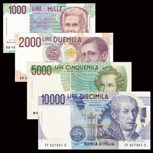 Italy-Set-4-PCS-1000-2000-5000-10000-Lire-1984-1990-UNC