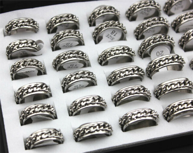 Wholesale Lots 10pcs Silver Tone Chain Stainless Steel Men Jewelry Ring FREE J27