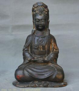 """8,4 """"Statue Kwan-Yin Guan Yin en bronze de bouddhisme chinois ancien"""