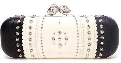 Alexander Mcqueen Two Tone Scalloped Leather Studded Skull Box Clutch Bag $1890