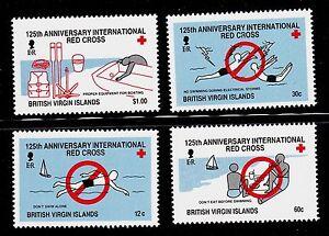 VIRGIN ISLANDS, BRITISH SCOTT# 613-616 MNH RED CROSS TOPICAL