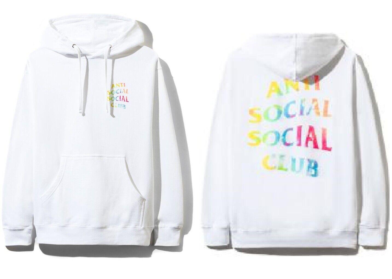 DS Anti Social Social Club ASSC Rainbow Logo Thai Dye White Hoodie in hand Bape