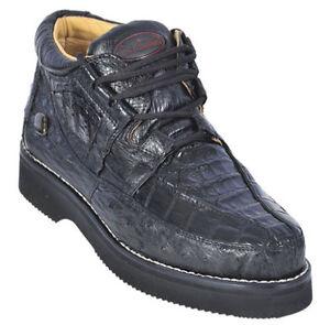 1a8230a8693 Details about Los Altos Genuine BLACK Caiman Crocodile Ostrich Casual Shoes  Lace Up D