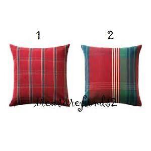 Ikea Annbritt Cushion Cover Red Green Plaid Check 20 X 20 Pillow