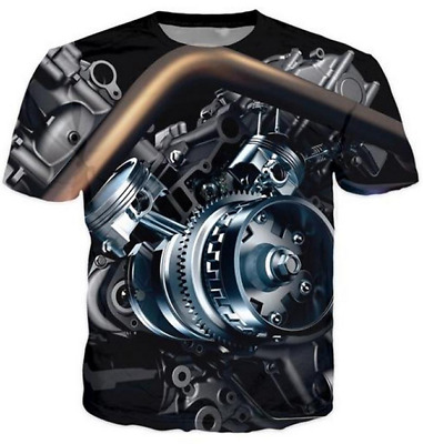 New Fashion Motor Heavy Metal Skull Retro Funny 3D Print Casual T-Shirt NEW