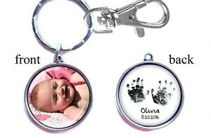 Details about Personalized Baby Photo Handprint Keychain Double-Sided (2  sides) for Mom Dad