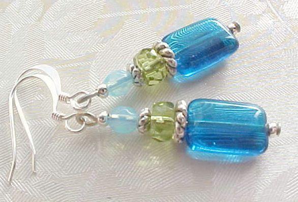 Beach Glass Earrings Turquoise Ocean Blue Lime Green Aqua Czech Bead Handmade