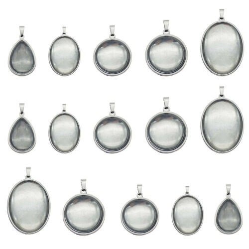 5 sets Silver Stainless Steel Base Settings w// Clear Glass Cabochons Pendants
